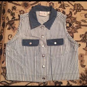 Copper Key Jackets & Coats - Vintage Blue & White Stripped Vest